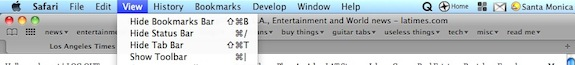 Show Toolbar menu item